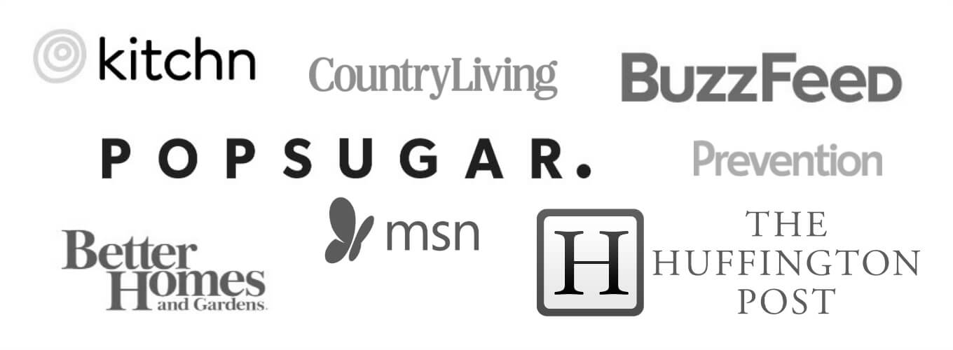 image with logos of websites Salt & Lavender has been featured on such as Buzzfeed, MSN, Huffpost, and CountryLiving