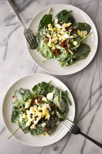 Spinach Salad with Bacon and Eggs - Salt & Lavender