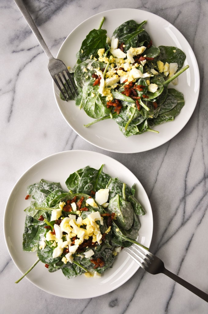 Spinach Salad with Bacon and Eggs - a tangy, garlicky dressing takes spinach to the next level. Not a breakfast food! - Salt & Lavender