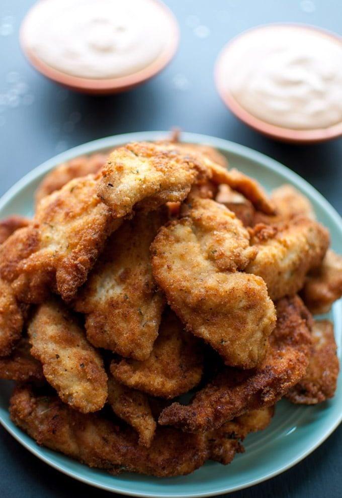 Breaded Chicken Tenders with a 3-Ingredient Dip - Salt & Lavender