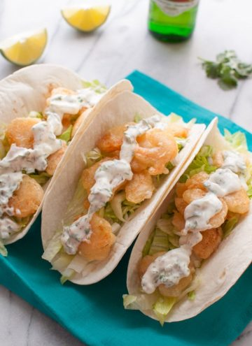 Beer Battered Shrimp Tacos with Cilantro Lime Cream - Salt & Lavender