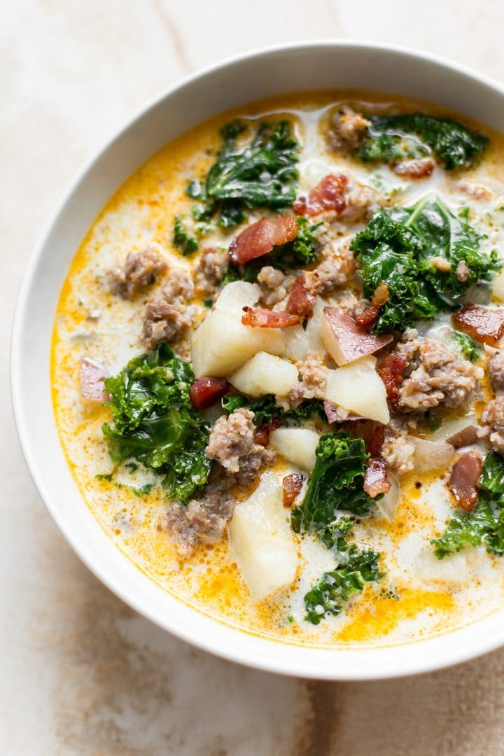 Close-up of Instant Pot Zuppa Toscana