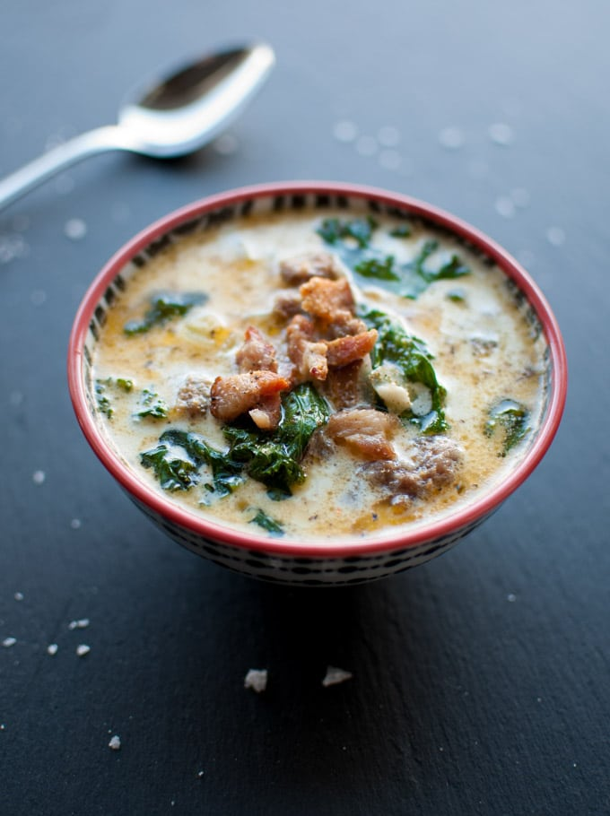 Sausage bacon potato and kale soup salt lavender for Olive garden potato sausage kale soup recipe