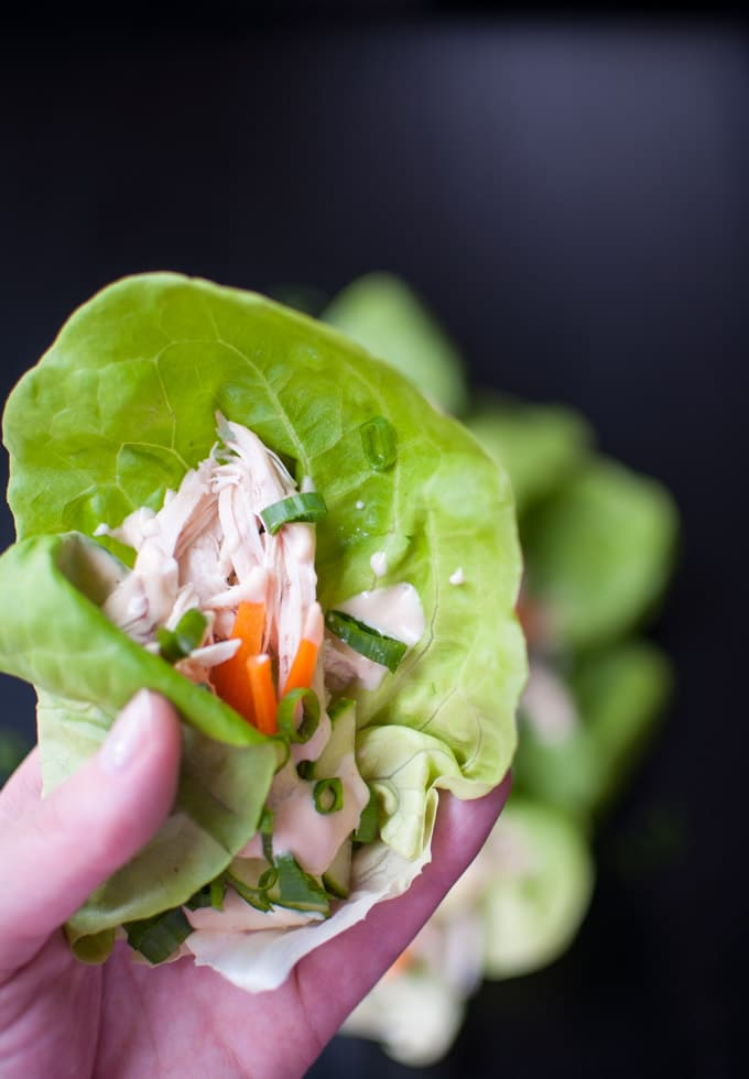 Asian Chicken Lettuce Wraps - the tangy-sweet hoisin mayo takes leftover chicken to new heights! - Salt & Lavender