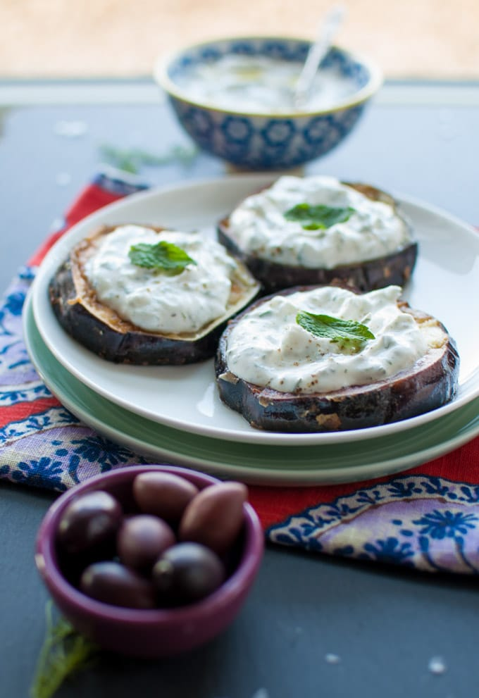 Fried Eggplant with Tzatziki - a scrumptious meatless dish that garlic lovers will adore - Salt & Lavender