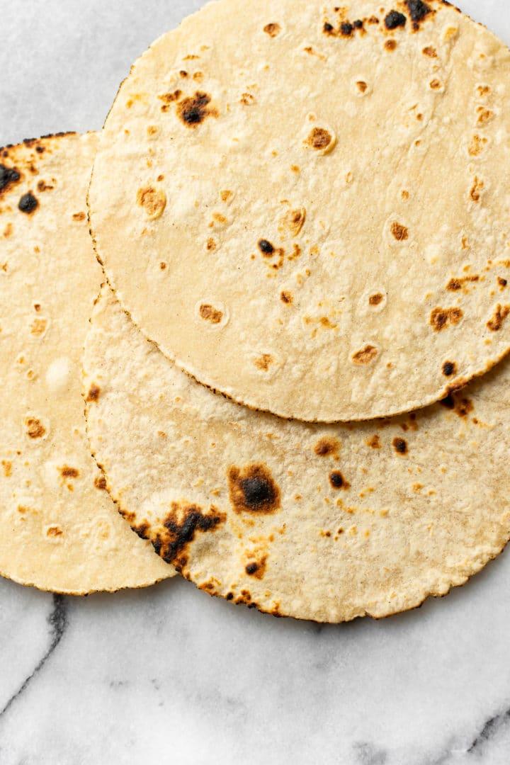3 charred corn tortillas