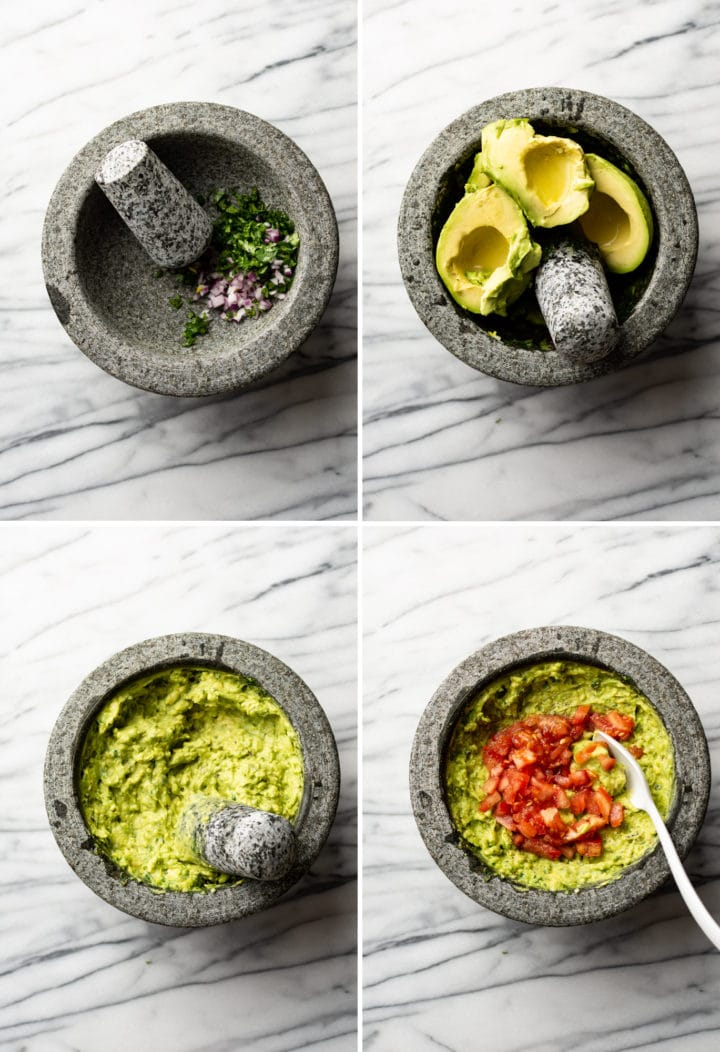 how to make guacamole in a molcajete process photo collage