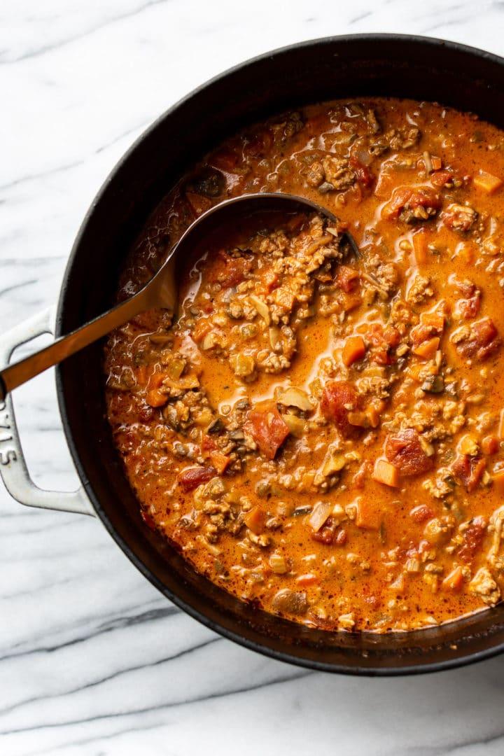 homemade spaghetti sauce in a pot
