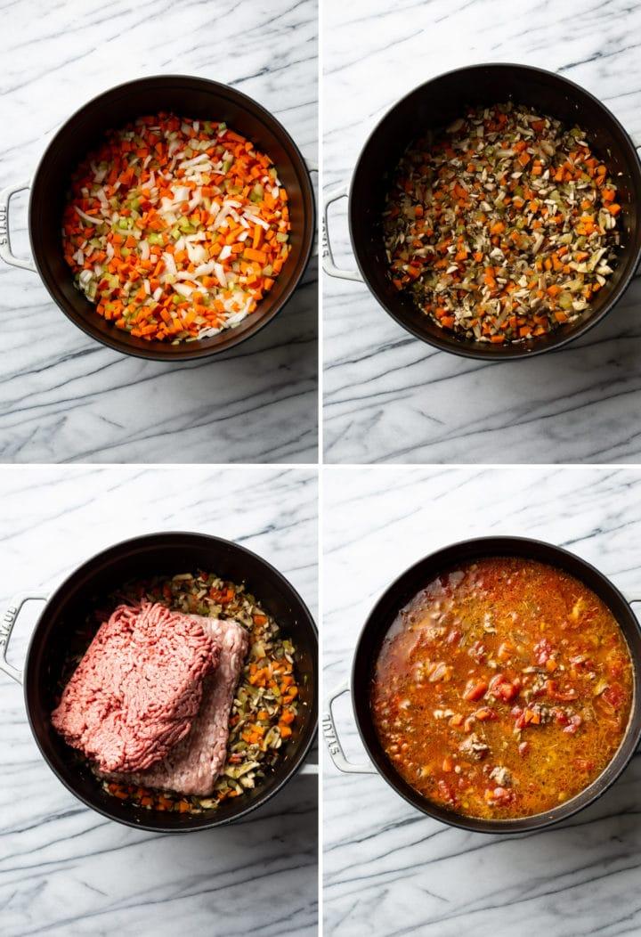 how to make spaghetti sauce process photo collage