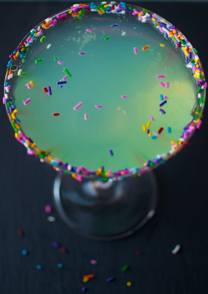 close-up of martini glass with Sprinkletini