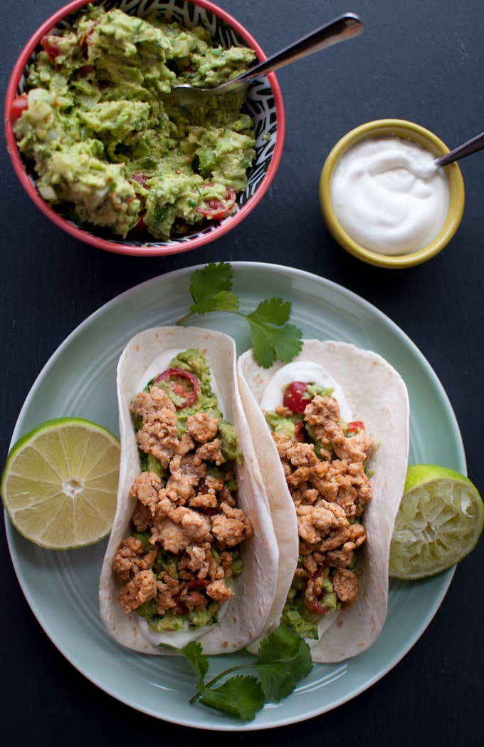 Turkey Tacos - an easy and healthy weeknight dinner with fantastic fresh guacamole - Salt & Lavender