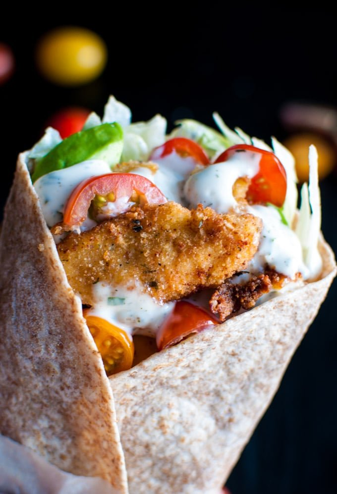 Fried Chicken Wraps with Homemade Ranch Dressing - these wraps taste amazing and are easy to make! The ranch is to die for. - Salt & Lavender