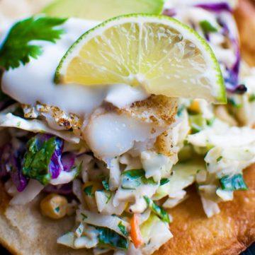 Fish Tostadas with Yogurt Slaw - Salt & Lavender