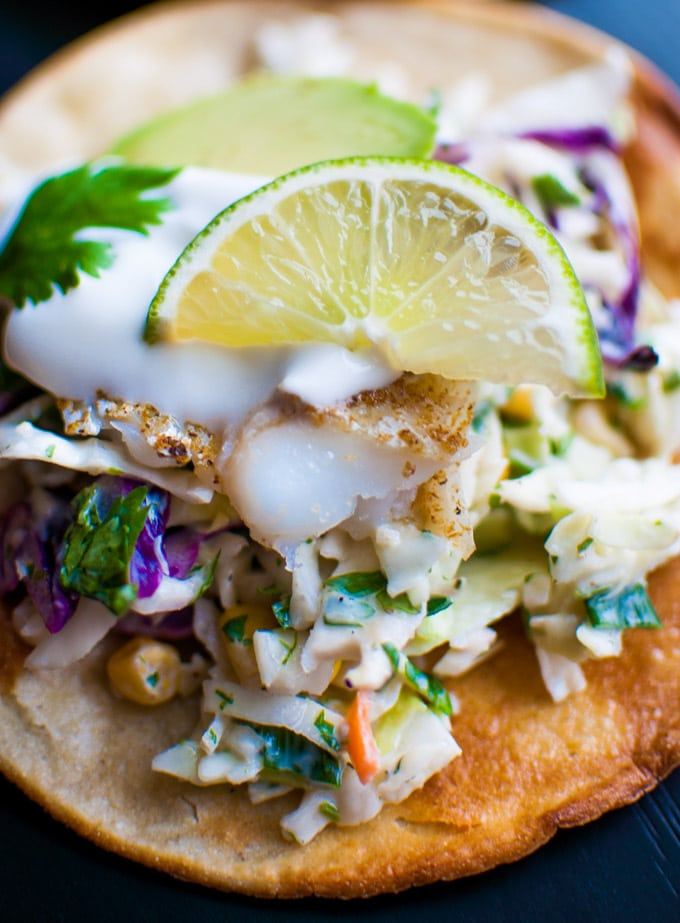 Fish Tostadas with Yogurt Slaw - a quick and healthy meal that even those who don't like fish will like! - Salt & Lavender