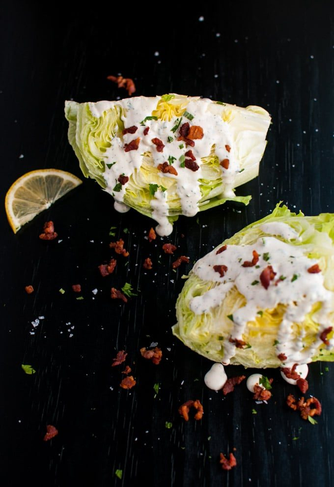 Iceberg Wedge Salad with Homemade Ranch and Bacon - an easy, beautiful, and delicious salad!