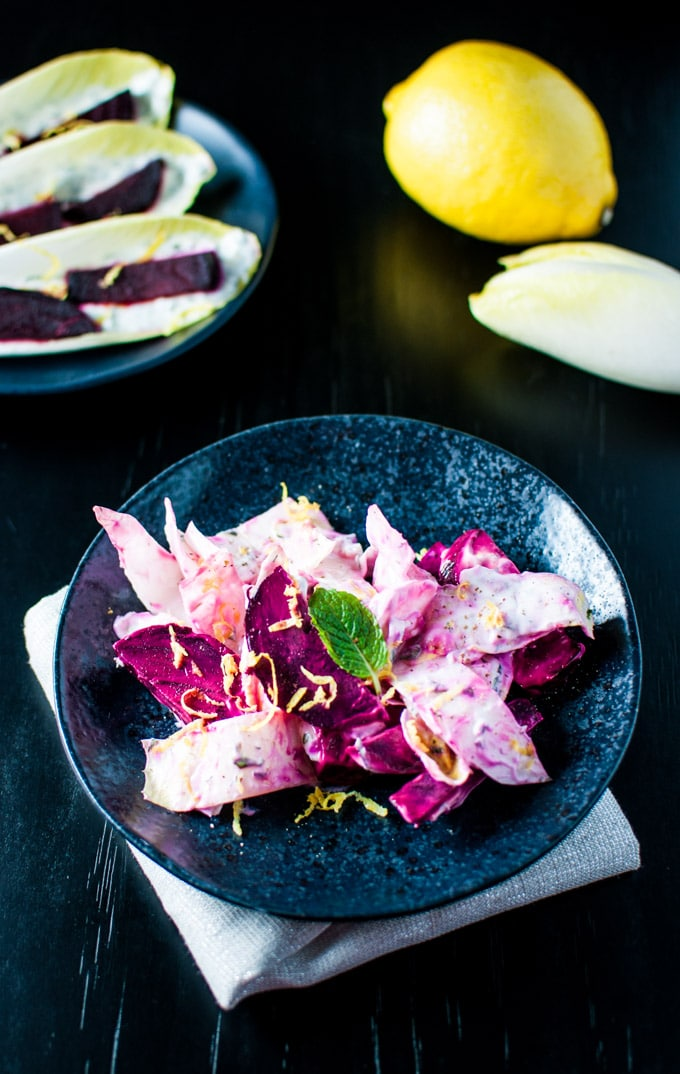 bowl with roasted beet and endive salad with Greek yogurt dressing
