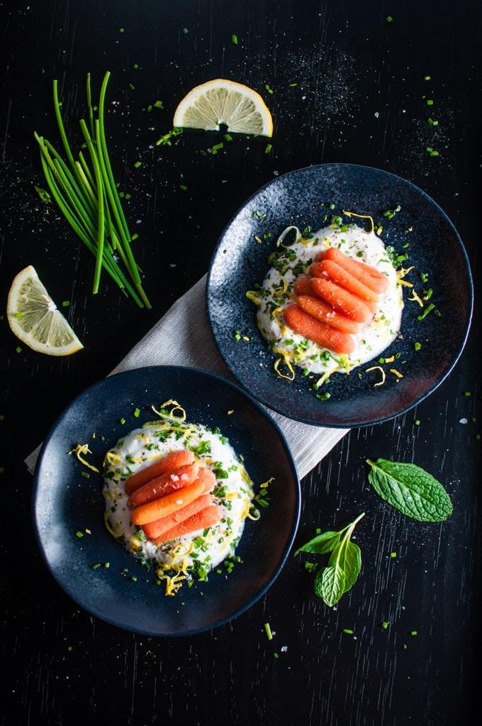 Carrots with Herbed Yogurt - an easy and elegant vegetarian appetizer with Greek yogurt, garlic, mint, and chives. - Salt & Lavender