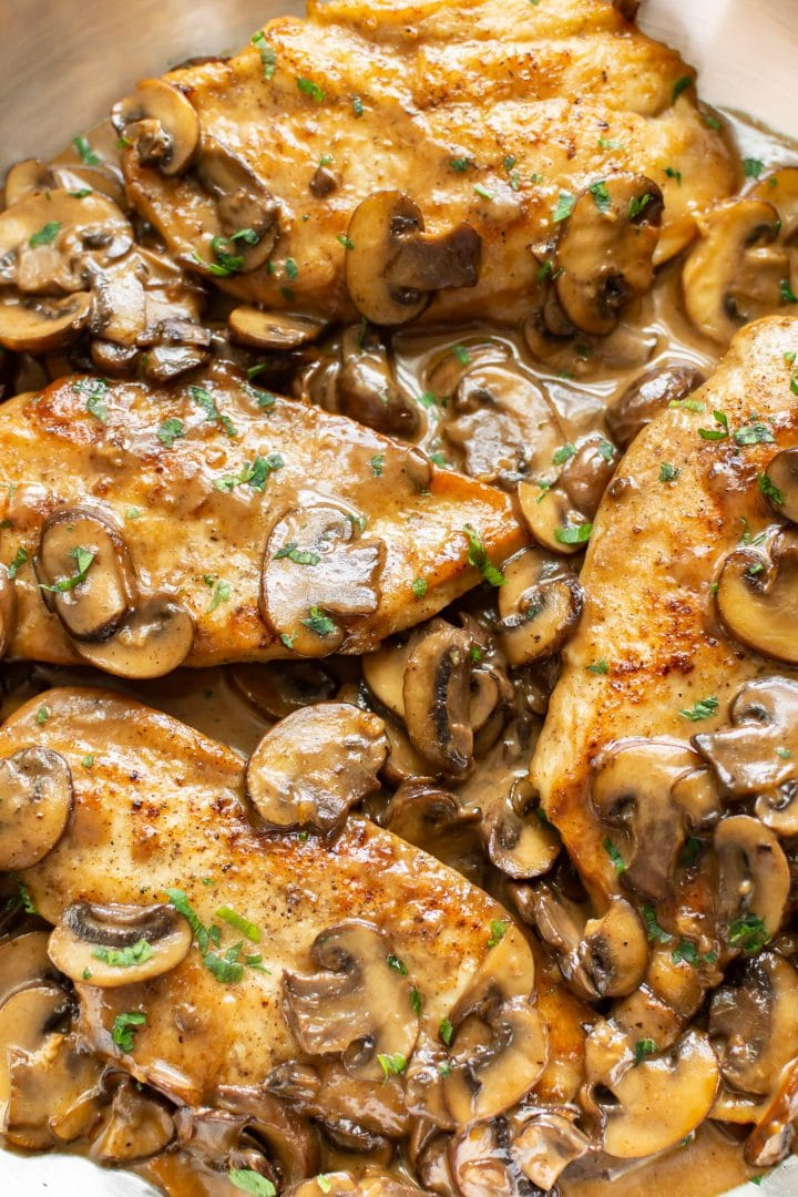 close-up of chicken marsala in sauce