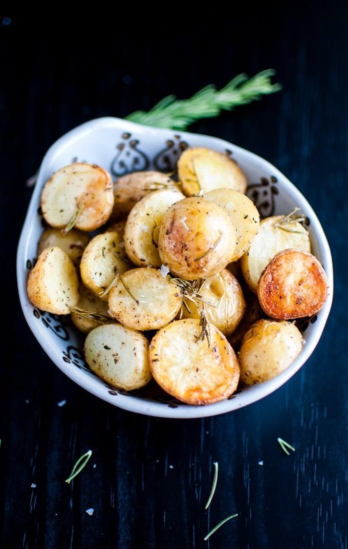 bowl with rosemary roasted potato halves