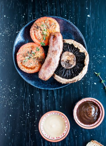 Roasted Sausages, Tomatoes, and Portobello Mushrooms - the perfect one pan comfort food. Breakfast for dinner! - Salt & Lavender