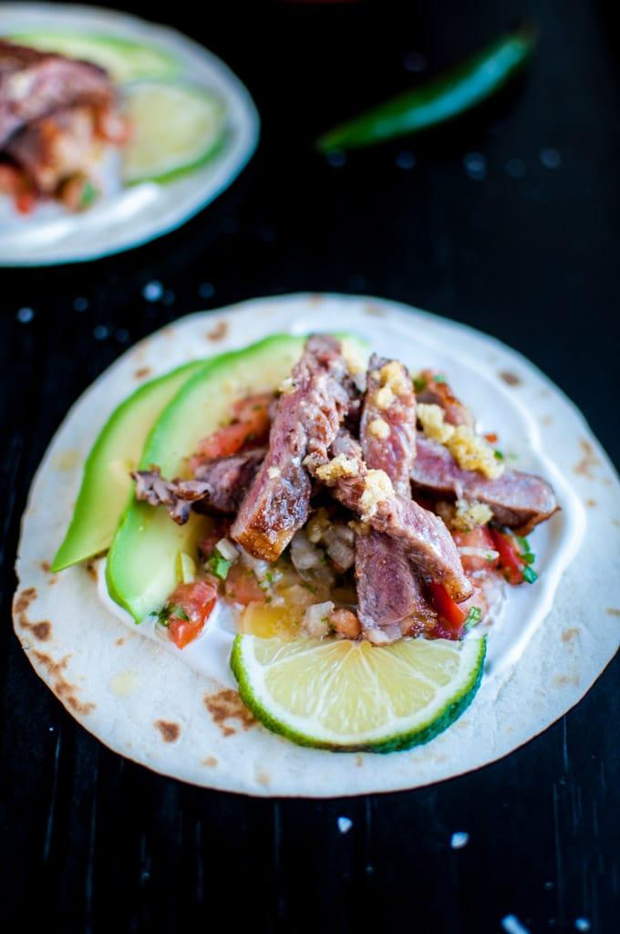 Garlic Butter Steak Tacos with Homemade Pico de Gallo - ready in half an hour!