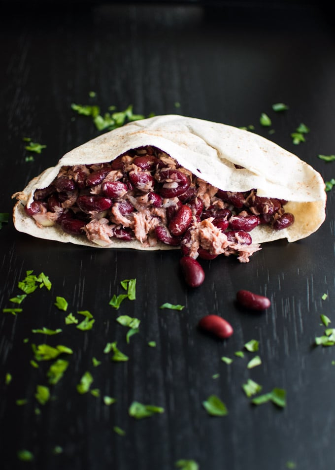 Tuna, Beans and Onions in a Pita - a quick, easy, and healthy meal. - Salt & Lavender