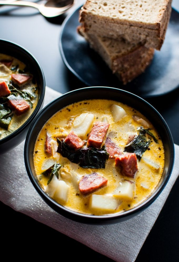 This chorizo, white bean, and potato soup is delicious and comforting.