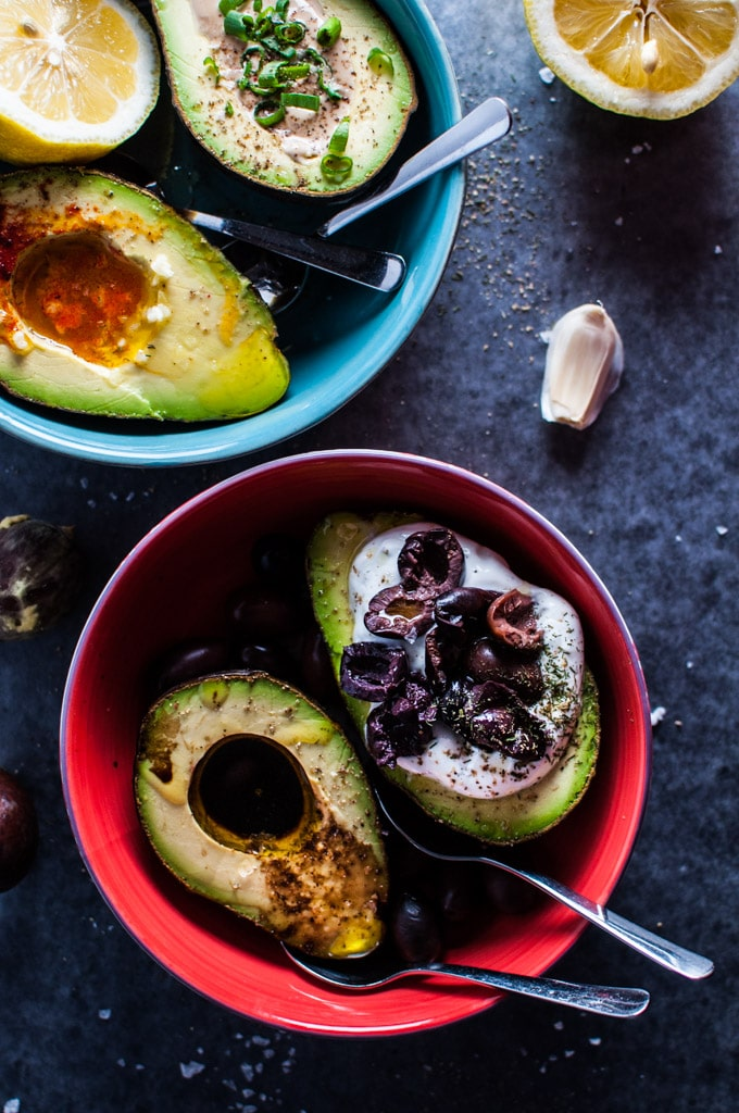 Avocado halves four ways - each takes less than 5 minutes. Liven up your avocado for a yummy snack!