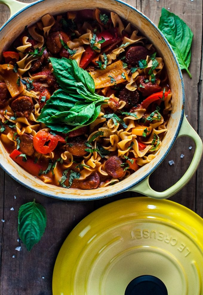 This one pot chorizo, bell pepper, and tomato noodles recipe is quick, healthy, and delicious. One pot = easy clean-up on a busy weeknight.