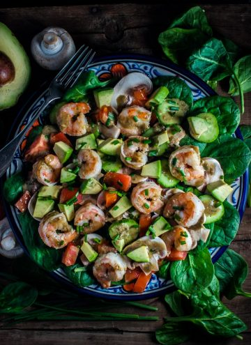Spinach salad with shrimp and a smoky-sweet dressing - the fresh flavors make a perfect healthy meal or side dish.