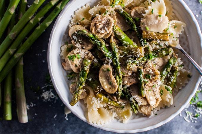 Truffle Butter Pasta asparagus and mushroom pasta • salt & lavender