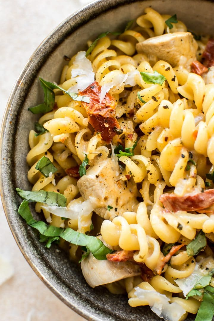This easy creamy Cajun chicken pasta recipe has a spicy sauce that's on the lighter side. It's quick and tasty!