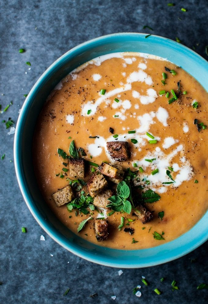 Potato, leek, and tomato soup - an easy to make, flavorful soup that is a healthy and complete meal.