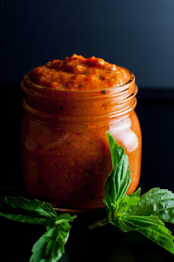 Roasted tomato and red pepper sauce - a versatile sauce that is simple to make, super flavorful, and can be used on pasta, pizza, or anywhere a tomato-based sauce is needed.