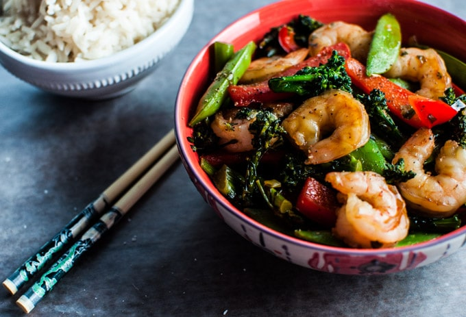 This skinny shrimp and vegetable sauté is ready in under half an hour and is packed with flavor!