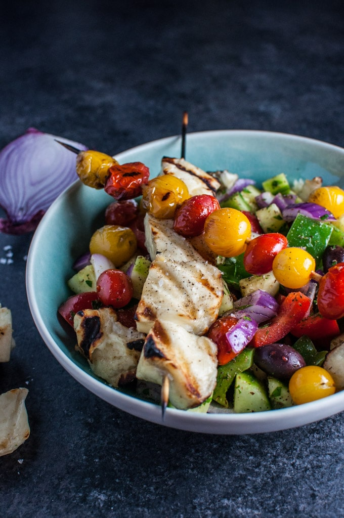 Greek Salad with grilled halloumi and tomatoes - an extra special take on the classic Greek salad!