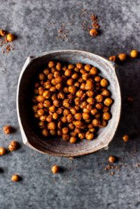 Southwest spiced crunchy chickpeas are a healthy, tasty, and easy to make snack or salad topping.