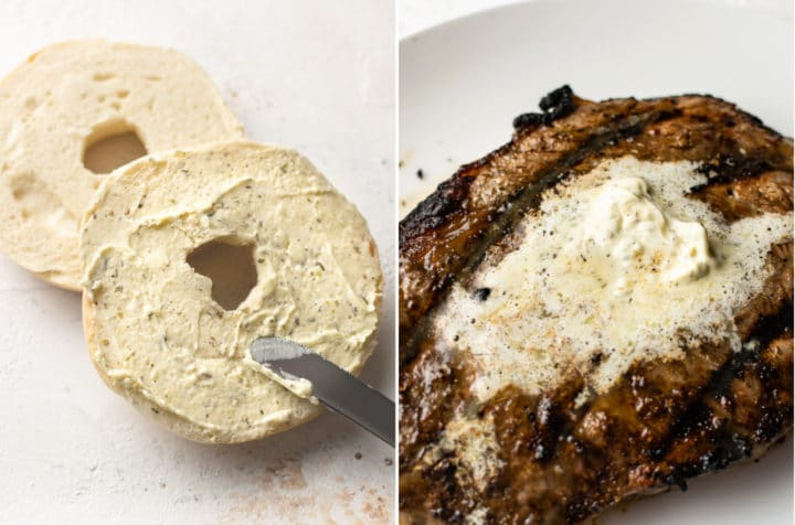 collage with garlic herb butter spread on a bagel and melted on a ribeye steak