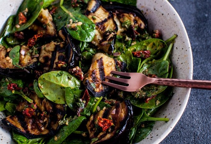 This grilled eggplant and spinach salad makes a wonderfully fresh ...