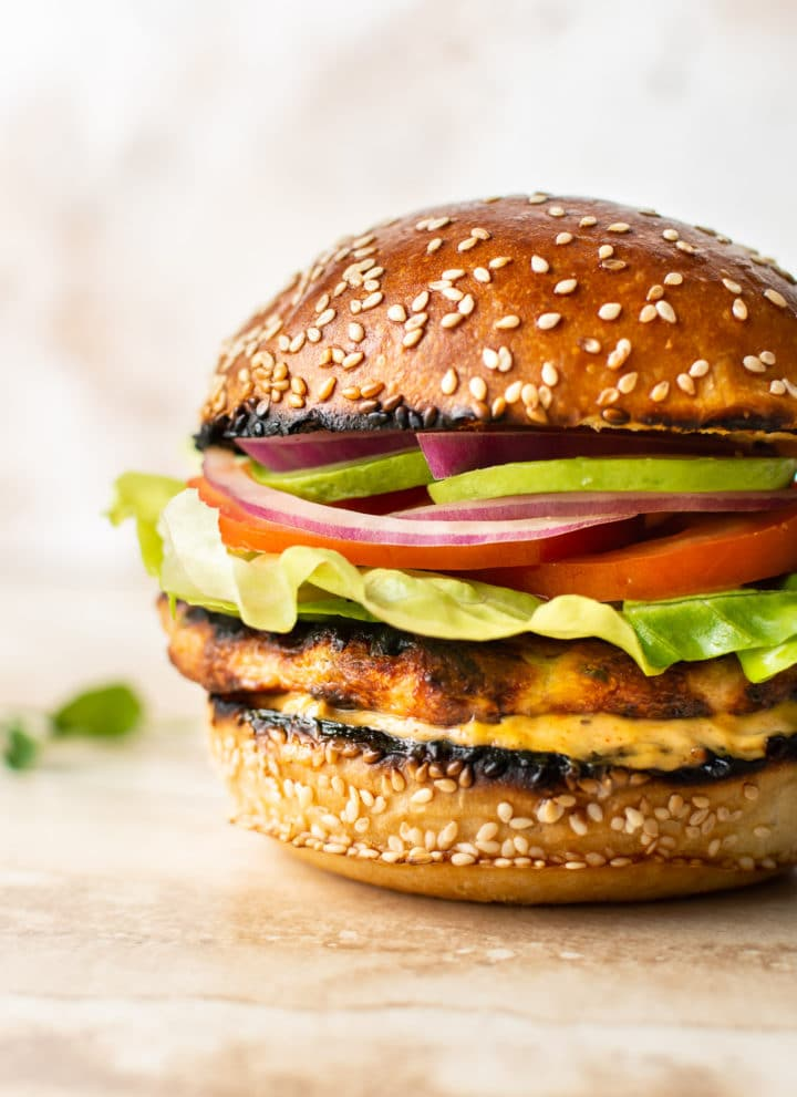 grilled ground chicken burger loaded with toppings