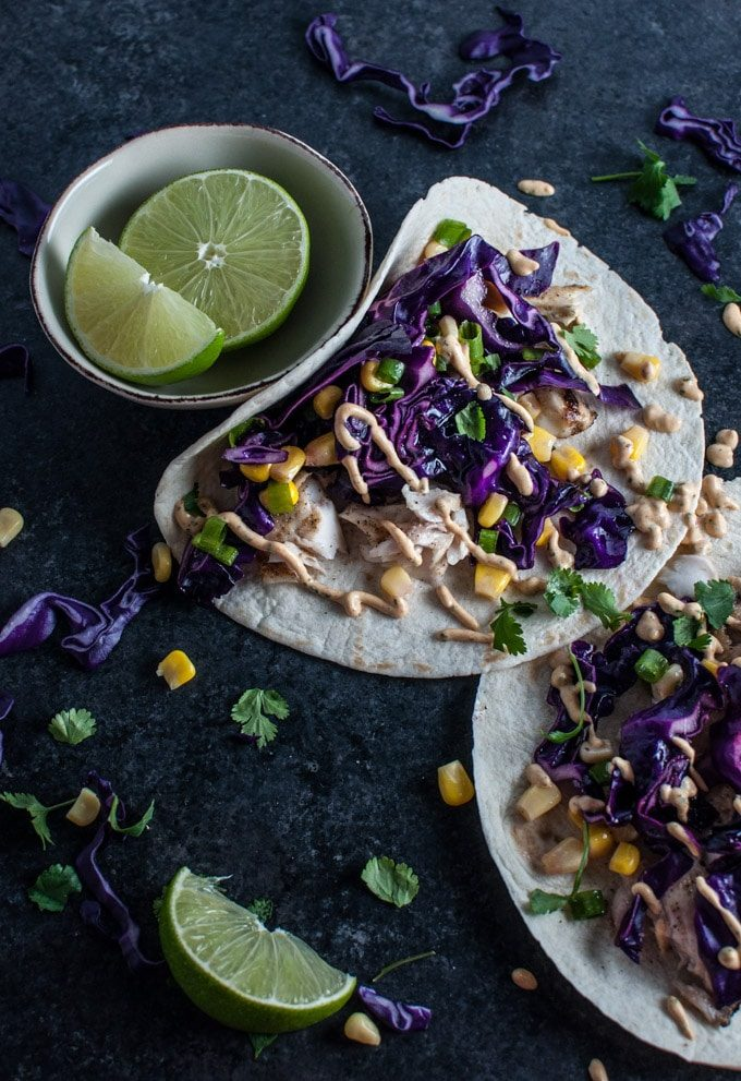These chipotle tilapia fish tacos are easy to make and packed with fresh flavor. The chipotle cilantro lime sauce is out of this world!