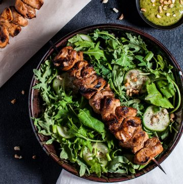 This chicken kabob salad with peanut lime dressing is tangy-sweet, flavorful, and filling. A deliciously healthy summer meal idea!