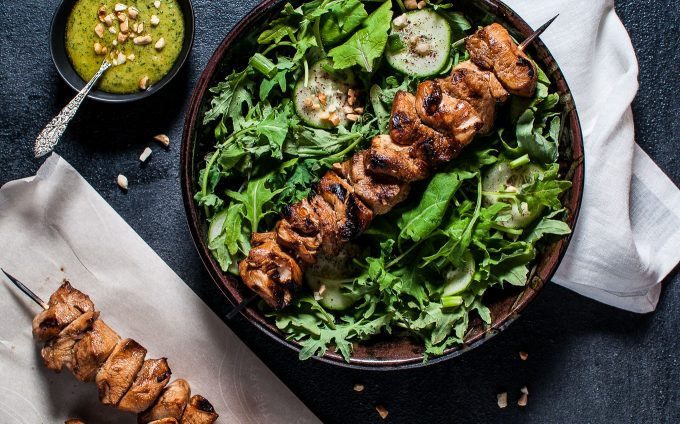 This chicken kabob salad with peanut lime dressing is tangy-sweet, flavorful and filling.
