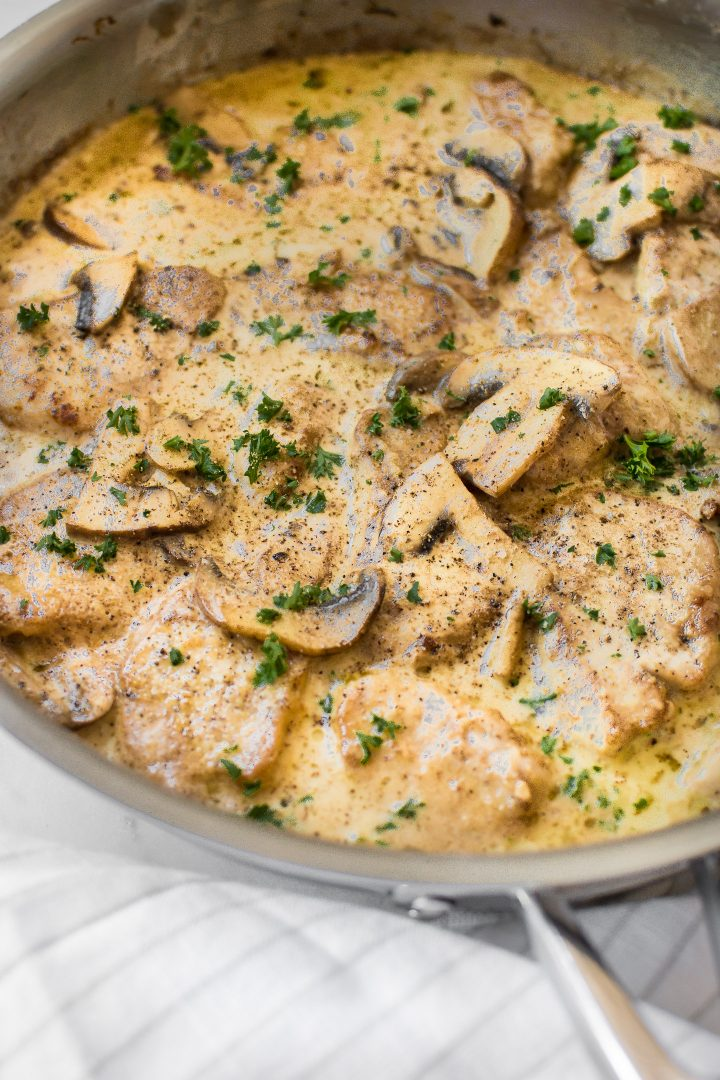 Pork tenderloin medallions smothered in a creamy balsamic mushroom sauce. A fast and simple family dinner!