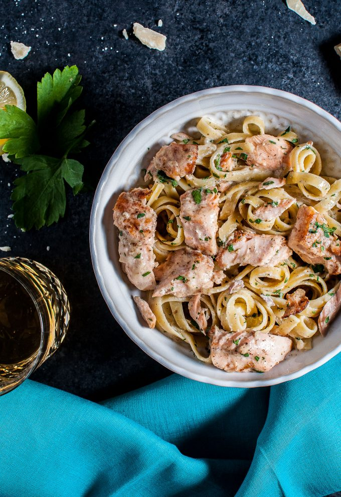 This salmon pasta with a creamy garlic sauce is quick and delicious and makes an easy and elegant meal.
