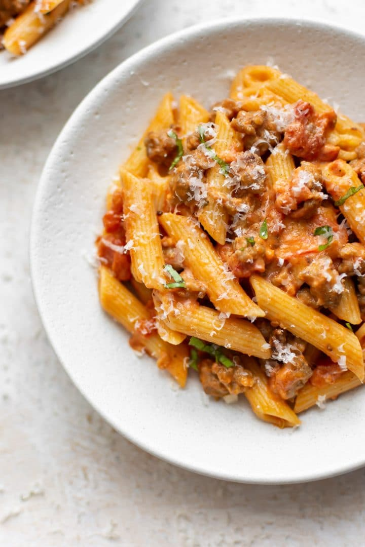 Italian sausage penne close-up