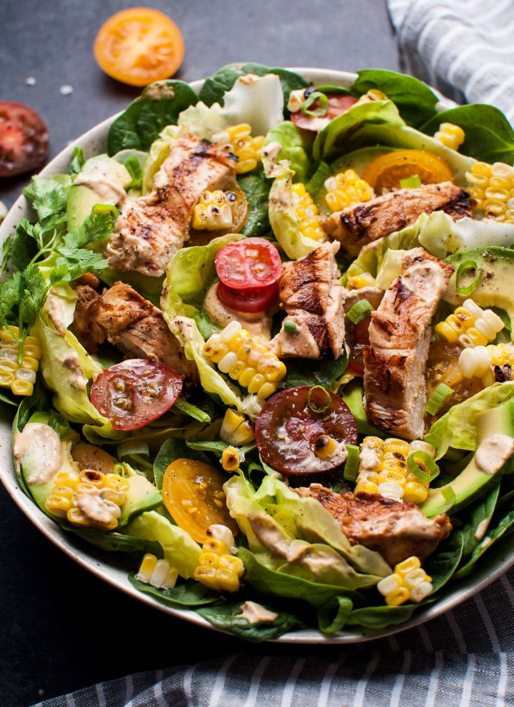 This grilled chicken salad with chipotle cilantro lime ranch dressing is smoky, fresh, and delicious.
