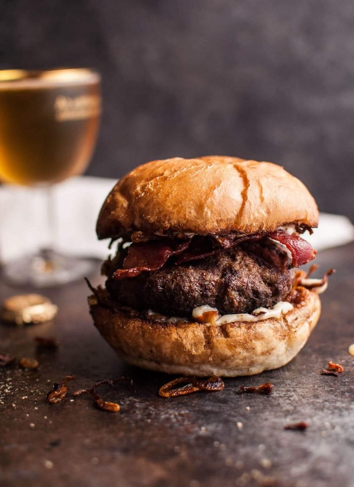 Beef burgers with bacon, horseradish mayo & fried onions are seriously delicious and easy to make.
