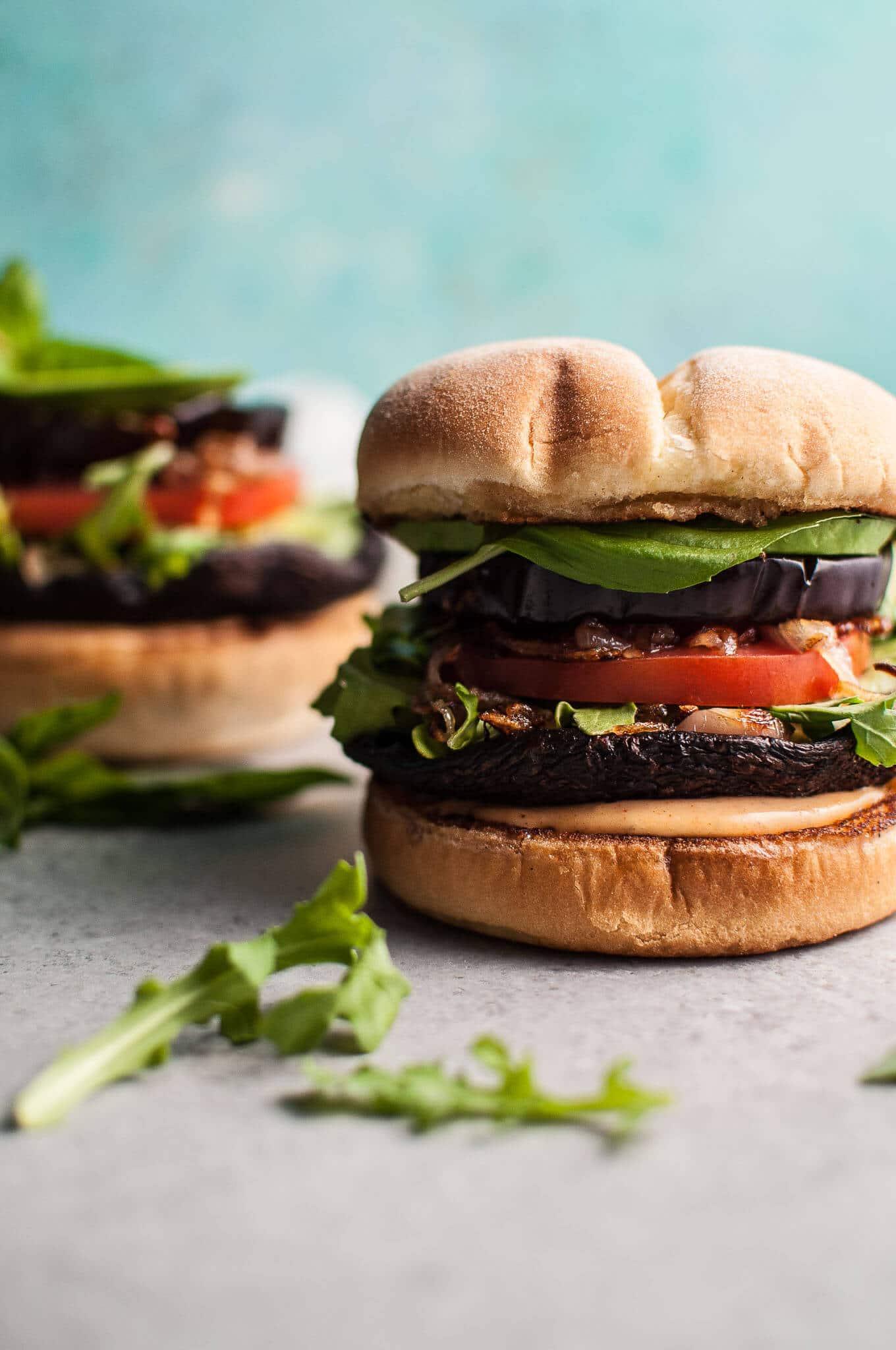 Grilled Portobello And Eggplant Veggie Burger Salt Lavender