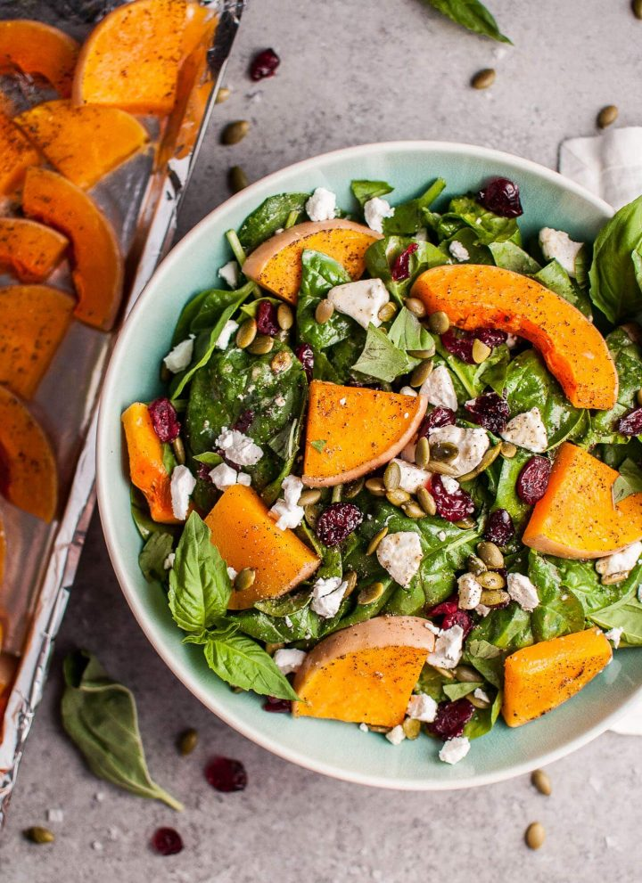 My roasted butternut squash and spinach salad with goat's cheese is a healthy, delicious, and filling fall salad!